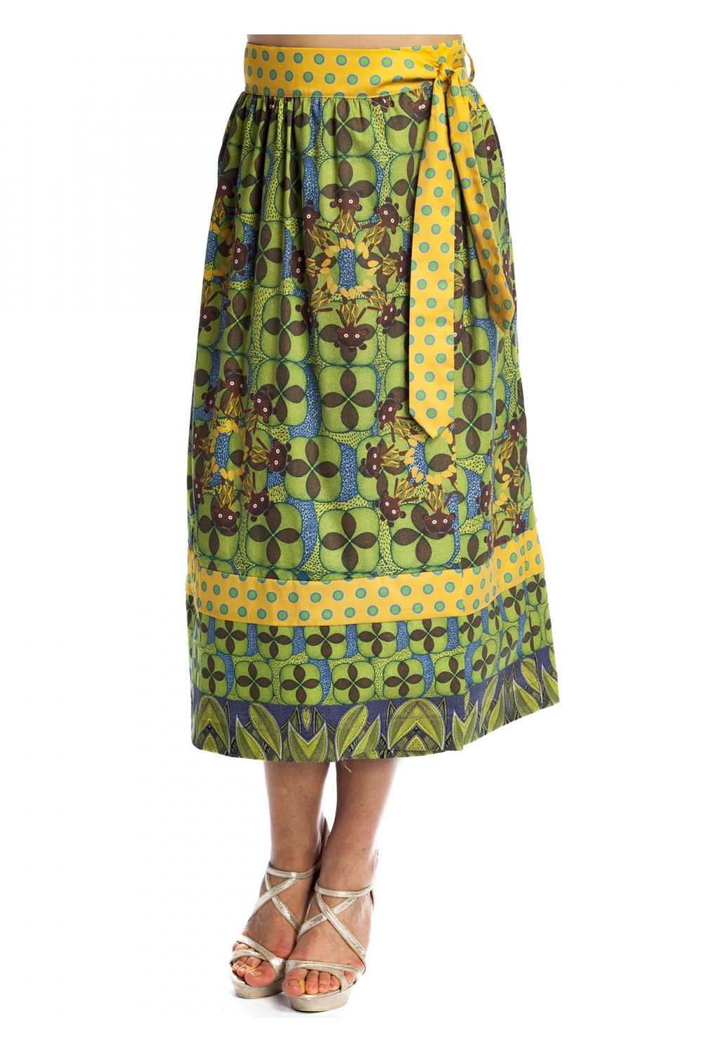 e8cbe1cde4 Large skirt with ankle-length. It has African patterns in green ...